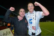 2 November 2012; Dundalk manager Darius Kierans, left, celebrates with Chris Shields after the final whistle. Airtricity League Promotion / Relegation Play-Off Final, 2nd Leg, Waterford United v Dundalk, RSC, Waterford. Picture credit: Matt Browne / SPORTSFILE
