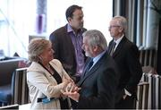 3 November 2012; Frances Fitzgerald, TD, Minister for Children and Youth Affairs, in conversation with Kieran Mulvey, Chairman, Irish Sports Council and Dr Leo Varadkar, Minister for Transport, Tourism and Sports, with John Treacy, Chief Executive, Irish Sports Council, before  the Code of Ethics & Good Practice for Children's Sport Information Day, hosted by the Irish Sports Council, at the Crowne Plaza Hotel, Blanchardstown, Dublin. Picture credit: Ray McManus / SPORTSFILE