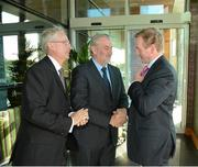 3 November 2012; Kieran Mulvey, Chairman, Irish Sports Council and John Treacy, left, Chief Executive, Irish Sports Council, greet An Taoiseach Enda Kenny TD as he arrives for the Code of Ethics & Good Practice for Children's Sport Information Day, hosted by the Irish Sports Council, at the Crowne Plaza Hotel, Blanchardstown, Dublin. Picture credit: Ray McManus / SPORTSFILE