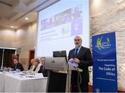 3 November 2012; Kieran Mulvey, Chairman, Irish Sports Council speaking at the Code of Ethics & Good Practice for Children's Sport Information Day, hosted by the Irish Sports Council, at the Crowne Plaza Hotel, Blanchardstown, Dublin. Picture credit: Ray McManus / SPORTSFILE