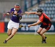 4 November 2012; Damien Kelly, Kilmacud Crokes, in action against Darren Stamp, Oulart-the-Ballagh. AIB Leinster GAA Hurling Senior Championship Quarter-Final, Kilmacud Crokes, Dublin v Oulart-the-Ballagh, Wexford, Parnell Park, Dublin. Picture credit: Ray McManus / SPORTSFILE