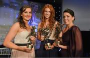 10 November 2012; Kerry players with their TG4 O'Neill's All-Star awards, Cáit Lynch, Kerry, Louise Ni Mhuircheartaigh and Sarah Houlihan. TG4 O'Neill's Ladies Football All-Star Awards 2012, Citywest Hotel, Saggart, Co. Dublin. Picture credit: Brendan Moran / SPORTSFILE