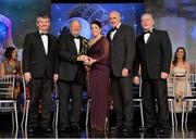 10 November 2012; Sarah Houlihan, Kerry, is presented with her All-Star award by Pat Quill, President, Ladies Gaelic Football Association, in the company of, from left, Pol O Gallchoir, Ceannsaí, TG4,  Liam Moggan, National Coach Development Officer, Coaching Ireland, and Cormac Farrell, O'Neill's. TG4 O'Neill's Ladies Football All-Star Awards 2012, Citywest Hotel, Saggart, Co. Dublin. Picture credit: Brendan Moran / SPORTSFILE
