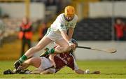 11 November 2012; James 'Cha' Fitzpatrick, Ballyhale Shamrocks, in action against Enda Malone, Dicksboro. Kilkenny County Senior Club Hurling Championship Final, Ballyhale Shamrocks v Dicksboro, Nowlan Park, Kilkenny. Picture credit: Brendan Moran / SPORTSFILE
