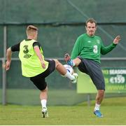 12 November 2012; Republic of Ireland's Glenn Whelan, right, and Conor Clifford in action during squad training ahead of their side's Friendly International against Greece on Wednesday. Republic of Ireland Squad Training, Gannon Park, Malahide, Dublin. Picture credit: David Maher / SPORTSFILE