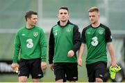 12 November 2012; Republic of Ireland players, from left to right, Wesley Hoolahan, Robbie Brady and Conor Clifford during squad training ahead of their side's Friendly International against Greece on Wednesday. Republic of Ireland Squad Training, Gannon Park, Malahide, Dublin. Picture credit: David Maher / SPORTSFILE