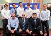 20 November 2012; Pictured are, from left to right, Jack McGrath, Ciaran Ruddock, Mark Flanagan, Dominic Ryan, Brendan Macken, and Ian Madigan, with seated, from left to right, Colm McEntee, Leinster Academy Manager, Tony O'Beirne, Chairman of Leinster Academy, and Michael Dawson, Chief Executive, Leinster Rugby, in attendance at a Leinster Rugby Academy HETAC Conferring Ceremony, RDS, Ballsbridge, Dublin. Picture credit: Paul Mohan / SPORTSFILE
