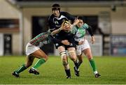 23 November 2012; Marie-Louise Reilly, Leinster, is tackled by Harriett Hewitt, Exiles. Challenge Match, Leinster Women v Exiles, Ashbourne RFC, Ashbourne, Co. Meath. Picture credit: Matt Browne / SPORTSFILE