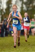 25 November 2012; Emma O'Brien, Inbhear Dee A.C., Co. Wicklow, on her way to finishing sixteenth in the Girl's Under 14, 3,000m at the Woodie's DIY Juvenile and Inter County Cross Country Championships. Tattersalls, Ratoath, Co. Meath. Picture credit: Paul Mohan / SPORTSFILE