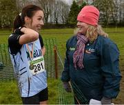 25 November 2012; Teresa McDaid, right, Letterkenny AC, Co. Donegal, with Ava Hutchinson, Dublin, after winning the Senior Women's 8,000m at the Woodie's DIY Juvenile and Inter County Cross Country Championships. Tattersalls, Ratoath, Co. Meath. Picture credit: Paul Mohan / SPORTSFILE