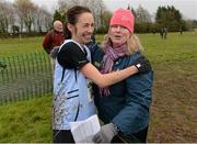 25 November 2012; Teresa McDaid, right, Letterkenny AC, Co. Donegal congratulates Ava Hutchinson, Dublin, after winning the Senior Women's 8,000m at the Woodie's DIY Juvenile and Inter County Cross Country Championships. Tattersalls, Ratoath, Co. Meath. Picture credit: Paul Mohan / SPORTSFILE
