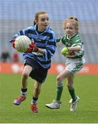 26 November 2012; Rebecca Cooke, St Helen's Portmarnock, left, in action against Erika O'Reilly Byrne, St Paul's Ayrfield. Allianz Cumann na mBunscol Finals, St Helen's Portmarnock v St Paul's Ayrfield, Croke Park, Dublin. Picture credit: Barry Cregg / SPORTSFILE