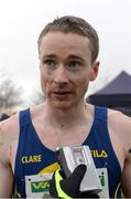 25 November 2012; Sean Hehir, Clare, speaking to the media after finishing third in the Senior Men's 10,000m at the Woodie's DIY Juvenile and Inter County Cross Country Championships. Tattersalls, Ratoath, Co. Meath. Picture credit: Paul Mohan / SPORTSFILE