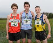 25 November 2012; Joseph Sweeney, Dublin, who won the Senior Men's 10,000m with 2nd place Michael Mulhare, left, Portlaoise A.C., Co. Laois, and 3rd place Sean Hehir, Clare, right, at the Woodie's DIY Juvenile and Inter County Cross Country Championships. Tattersalls, Ratoath, Co. Meath. Picture credit: Paul Mohan / SPORTSFILE
