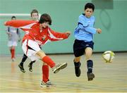 5 December 2012; Oisin Mullins, Ballinrobe, Co. Mayo, in action against Gavin Kelly, Our Ladys Secondary School, Castleblayney, Co. Monaghan. FAI All-Ireland Post Primary Schools First Year Futsal Finals, Franciscan College, Sports Centre, Gormanston, Meath. Picture credit: David Maher / SPORTSFILE