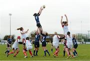 8 December 2012; Marie-Louise Reilly, Leinster, wins possession for her side in a lineout. Women's Interprovincial, Leinster v Ulster, Ashbourne RFC, Ashbourne, Co. Meath. Picture credit: Matt Browne / SPORTSFILE