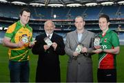 13 December 2012; The GAA today announced details of the forthcoming national roll-out of the compulsory wearing of mouthguards in all underage grades up to and including minor for Gaelic football matches from January 2013. In attendance at the launch of the GAA / GPA / OPRO Mouthguard are, from left, Donegal footballer Michael Murphy, Anthony Lovat, Director OPRO, Richard Evans, OPRO, and Mayo footballer Alan Dillon. Croke Park, Dublin. Picture credit: Barry Cregg / SPORTSFILE