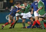 7 March 2003; Gordon D'Arcy, Ireland A,  is tackled by Christophe Dominici and Olivier Milloud, France A. 'A' Rugby International, Ireland v France, Ravenhill, Belfast. Picture credit; Matt Browne / SPORTSFILE *EDI*