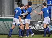 14 December 2012; Conor Hogan, St. Mary's College, is congratulated by team-mates Philip Brophy, left, and Stephen Toal-Lennon, after scoring his side's third try. Leinster Senior League Cup Final, St. Mary's College v Lansdowne, Donnybrook Stadium, Donnybrook, Dublin. Picture credit: Paul Mohan / SPORTSFILE