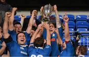 14 December 2012; St. Mary's College captain Richard Sweeney lifts the cup as his team-mates celebrate. Leinster Senior League Cup Final, St. Mary's College v Lansdowne, Donnybrook Stadium, Donnybrook, Dublin. Picture credit: Paul Mohan / SPORTSFILE