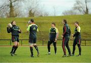 18 December 2012; Munster players, from left, JJ Hanrahan, Niall Ronan, Ian Keatley, Danny Barnes and Luke O'Dea in action during squad training ahead of their Celtic League 2012/13 game against Connacht on Saturday. University of Limerick, Limerick. Picture credit: Diarmuid Greene / SPORTSFILE