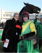 27 December 2012; Winning owner Ann Potts and jockey Andrew Lynch celebrate after winning the Paddy Power Dial-a-Bet Steeplechase on Sizing Europe. Leopardstown Christmas Racing Festival 2012, Leopardstown Racetrack, Leopardstown, Co. Dublin. Picture credit: Pat Murphy / SPORTSFILE