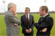 3 September 2012; Ard Stiúrthóir of the GAA Páraic Duffy, left, with Tom Daly, Chairman of the Caesment Park Stadium Redevelopment Board, and Stephen McGeehan, Ulster GAA Operation Manager, right, at the annoucement by Ulster Council of GAA, of the appointment of world renowned Stadium Designers Mott McDonald Ltd, for the design of the new stadium on the site of Casement Park, Belfast. Casement Park Stadium Project, Casement Park, Belfast, Co. Antrim. Picture credit: Oliver McVeigh / SPORTSFILE
