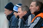 6 January 2013; Dublin manager Jim Gavin, second from right, with selectors Shane O'Hanlon, left, Declan Darcy and Mick Deegan, right, near the end of the game. Bórd na Móna O'Byrne Cup, Group B, Carlow v Dublin, Dr. Cullen Park, Carlow. Picture credit: Ray McManus / SPORTSFILE