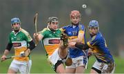 13 January 2013; Derek Molloy, Offaly, in action against Sean Curran and John O'Keeffe, Tipperary. Inter-County Challenge Match, Tipperary v Offaly, Templemore, Co. Tipperary. Picture credit: Matt Browne / SPORTSFILE