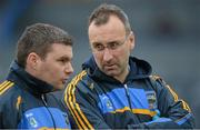 13 January 2013; Tipperary manager Peter Creedon, right, in conversation with backroom team member Gerry McGill. McGrath Cup Quarter-Final, Cork v Tipperary, Páirc Ui Rinn, Cork. Picture credit: Brendan Moran / SPORTSFILE