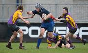 15 January 2013; Dylan Doyle, Ratoath C.C, is tackled by  Eoin Roche, right, and Conor Fenlon, CBS Wexford. Senior Development Cup Final, CBS Wexford v Ratoath C.C, Donnybrook Stadium, Donnybrook, Dublin. Picture credit: David Maher / SPORTSFILE