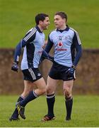 20 January 2013; Bernard Brogan, left, Dublin, celebrates after scoring his side's second goal with team-mate Paddy Andrews. Bórd na Móna O'Byrne Cup, Semi-Final, Louth v Dublin, County Grounds, Drogheda, Co. Louth. Picture credit: Paul Mohan / SPORTSFILE