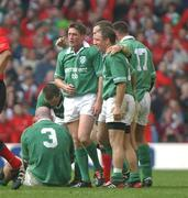22 March 2003; Ireland's Ronan O'Gara celebrates the final whistle with David Humphreys, nearest camera, and Kevin Maggs after victory over Wales. RBS Six Nations Rugby Championship, Wales v Ireland, Millennium Stadium, Cardiff, Wales. Picture credit; Matt Browne / SPORTSFILE *EDI*