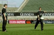 29 March 2003; David Humphreys pictured with Ronan O'Gara during Irish Rugby training at Lansdowne Road, Dublin. Picture credit; Matt Browne / SPORTSFILE *EDI*