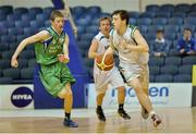 25 January 2013; John McMurray, St Malachy's Belfast, in action against Shane Maughan, Ard Scoil Rathangan. All-Ireland Schools Cup U16A Boys Final, St Malachy's Belfast, Antrim v Ard Scoil Rathangan, Kildare, National Basketball Arena, Tallaght, Dublin. Picture credit: Barry Cregg / SPORTSFILE