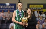 "25 January 2013; Conor Quinn, St Malachy's Belfast, is presented with the MVP by Louise O'Loughlin, Competitions Officer, Basketball Ireland. All-Ireland Schools Cup U19A Boys Final, St Malachy's Belfast, Antrim v Templeogue College/St Josephs ""Bish"", National Basketball Arena, Tallaght, Dublin. Picture credit: Brendan Moran / SPORTSFILE"