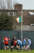 29 January 2013; The tricolour flies at half mast in memory of the late Kevin Heffernan. Irish Daily Mail Sigerson Cup, Round 1, UCC v UUJ, Parnells GAA Club, Coolock, Dublin. Picture credit: Brian Lawless / SPORTSFILE