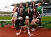 29 January 2013; In attendance at the 2013 Ladies National Football League launch and Tesco Homegrown sponsorship announcement of the league are Pat Quill, President of the Ladies Football Association, and Lynn Moynihan, head of Marketing and Sponsorship, Tesco Ireland, with Division 2 players, back row, from left, Westmeath's Aileen Martin, Clare's Eimear Considine, Kerry's Aislinn Desmond, Cavan's Claire Murtagh and Fermanagh's Shauna Hamilton. Front row, Kildare's Aisling Savage, left, and Galway's Marian Hernon. Croke Park, Dublin. Picture credit: Paul Mohan / SPORTSFILE