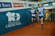 2 February 2013; Bernard Brogan, left, and Paul Flynn, Dublin, lead their team-mates towards the field for the second half of the game. Allianz Football League, Division 1, Dublin v Cork, Croke Park, Dublin. Picture credit: Barry Cregg / SPORTSFILE