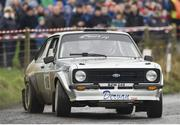 3 February 2013; Eamon Dervan and Greg Kennedy in a Ford Escort in action during SS 2 Greenville. Safety Direct Galway International Rally. Ballinasloe Co.Galway. Picture credit: Philip Fitzpatrick / SPORTSFILE