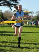 6 February 2013; Jodie McCann, Rathdown, Dublin, crosses the finishline to win the minor girls race at the 2013 AVIVA Leinster Schools cross country championships. Santry Demesne, Santry, Co. Dublin. Picture credit: Barry Cregg / SPORTSFILE