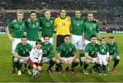 6 February 2013; The Republic of Ireland team, back row, from left to right, Paul McShane, Ciaran Clark, Conor Sammon, David Forde, John O'Shea and Glenn Whelan. Front row, from left to right, James McCarthy, Greg Cunningham, Robbie Brady, Shane Long and James McClean. International Friendly, Republic of Ireland v Poland, Aviva Stadium, Lansdowne Road, Dublin. Picture credit: David Maher / SPORTSFILE