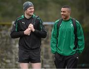 8 February 2013; Ireland's Donnacha Ryan and Simon Zebo during squad training ahead of their RBS Six Nations Rugby Championship match against England on Sunday. Ireland Rugby Squad Training, Carton House, Maynooth, Co. Kildare. Picture credit: Matt Browne / SPORTSFILE
