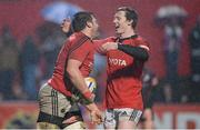 9 February 2013; CJ Stander, Munster, is congratulated by team-mate Danny Barnes after scoring his side's first try. Celtic League 2012/13, Round 14, Munster v Edinburgh, Musgrave Park, Cork. Picture credit: Diarmuid Greene / SPORTSFILE