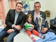 11 February 2013; The RBS 6 Nations and Triple Crown Trophies visited Our Lady's Hospital for Sick Children, Crumlin, Dublin, today, as part of the Ulster Bank and RBS 6 Nations Trophy Tour, which is travelling across the country this week. Pictured at Our Lady's Hospital for Sick Children, with the Six Nations trophy, is Naia Fortune-Sheehan, age 4, from Delganey, Co. Wicklow, with former Ireland internationals Reggie Corrigan, left, and Alan Quinlan. The trophy tour is being held as part of Ulster Bank's sponsorship of community rugby in Ireland which includes the Ulster Bank League and Ulster Bank RugbyForce. Now in its third year, the RugbyForce initiative provides rugby clubs with the opportunity to win support packages to renovate their club and upgrade their facilities. This year, five clubs will receive a €5,000 prize, with one coming down to a public vote. Rugby clubs have until Friday April 12th to enter RugbyForce on Ulster Bank's dedicated rugby website, www.ulsterbank.com/rugby. Ulster Bank and RBS 6 Nations Trophy Tour, Our Lady's Hospital for Sick Children, Crumlin, Dublin. Picture credit: Barry Cregg / SPORTSFILE