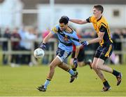 14 February 2013; Craig Dias, UCD, in action against Peter O'Hanlon, DCU. Irish Daily Mail Sigerson Cup, Quarter-Final, DCU v UCD, St. Clare's, DCU Sportsgrounds, Ballymun, Dublin. Picture credit: Brian Lawless / SPORTSFILE