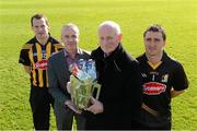 14 February 2013; Kilkenny manager Brian Cody and Brian Phelan, second left, Glanbia Executive Director, Group Development and Global Cheese, with Kilkenny players Jackie Tyrrell, left, and David Herity, in attendance at the Kilkenny GAA/Glanbia 2013 launch. Nowlan Park , Kilkenny. Picture credit: Matt Browne / SPORTSFILE