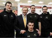 15 February 2013; An Taoiseach Enda Kenny T.D with left to right, Donegal footballer Michael Murphy, James Scully, London 2012 Paralympic Athlete, David Malone, Head of Paralympic swimming, and Mayo footballer Kevin McLoughlin in attendance at an announcement between Elverys Sports and Coaching Ireland. Elverys Sports, Dundrum Town Centre, Dublin. Picture credit: David Maher / SPORTSFILE