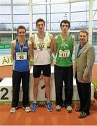 16 February 2013; Ciarán Ó Catháin, President of Athletics Ireland, with Eoin Kelly, St. Abbans A.C., winner of the men's triple jump final, second place Conor Durnin, St. Peter's A.C., left, and third place Sean Archer Ferrybank A.C., right. Woodie's DIY AAI Senior Indoor Championships, Athlone Institute of Technology International Arena, Athlone, Co. Westmeath. Picture credit: Stephen McCarthy / SPORTSFILE