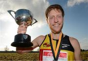 17 February 2013; Brendan Gregg, USA, with the cup after winning the Men's Senior International 6,000m at the Rás na hÉireann 2013. Battle of the Boyne Site, Oldbridge Estate, Co. Meath. Picture credit: Paul Mohan / SPORTSFILE